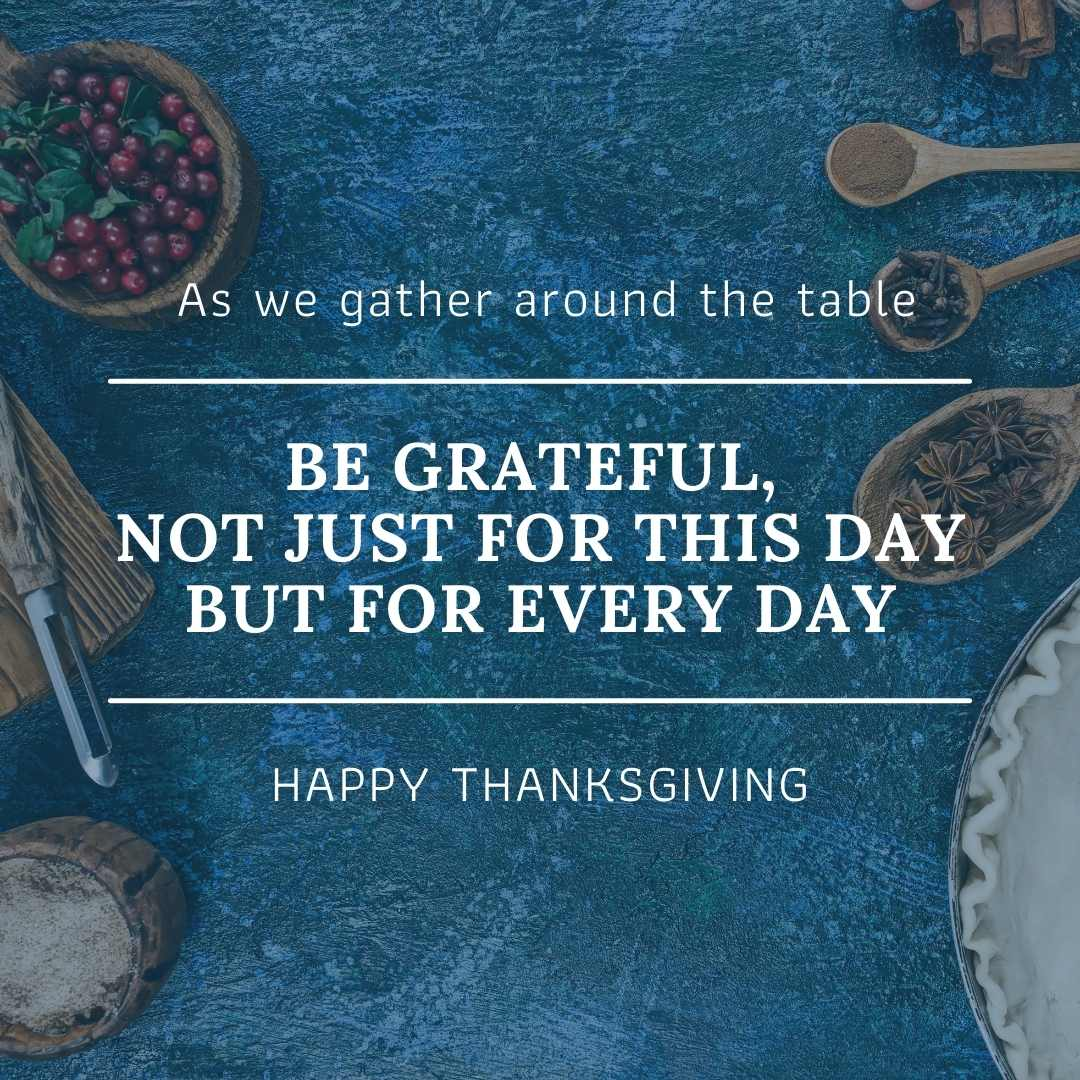 Blue Thanksgiving Quote Canva Template by Socially Sorted- November Social Media Ideas