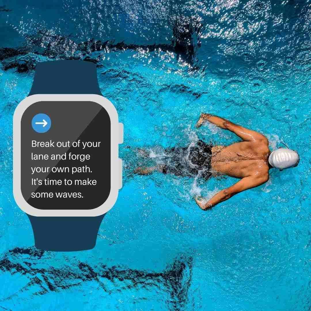 Swimming Lane Smartwatch Quote Canva Template - 60+ June Social Media Ideas