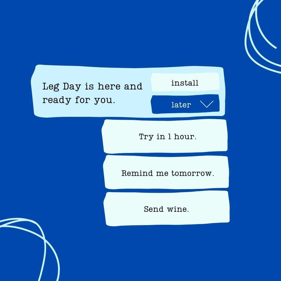 Leg Day Reminder - Message Reminder Post Template in blog post: Easy Message Reminder Posts + Canva Templates