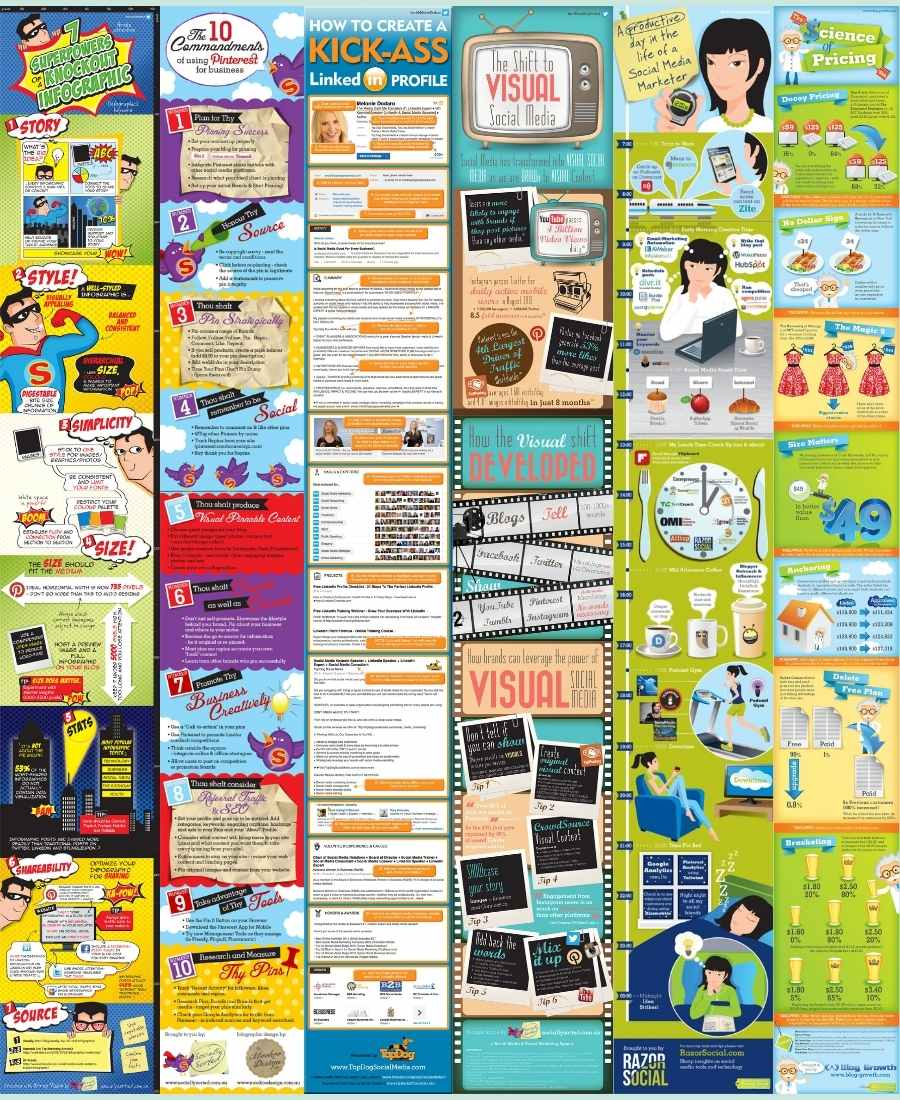 Collage of early infographics by Socially Sorted's team.